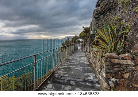 Cinque Terre - road of love. Liguria Italy.One from most beautiful in Italy of for pedestrians paths for lovers