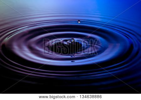 Water drop on purple blue background macro with ripples
