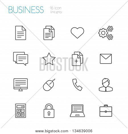 bussines vector gray line icons set 0f 16