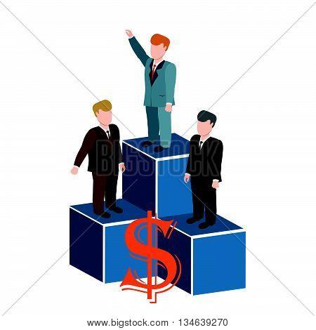Business man on podium holding.Businessman winner standing in first place on a podium.Businessman celebrates on Winning Podium.