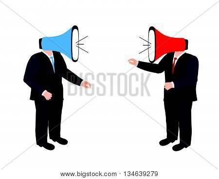 Conflict concept.Shouting at each other. People shouting into a megaphone at each other.Businessmen shouting through megaphone.