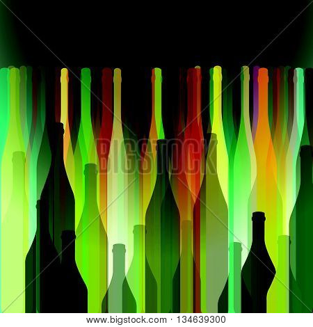 Background with wine bottles.Bottles vector illustration. A bottle of alcohol. Bottles cocktail party. Bottles abstract background.