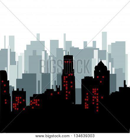 The city.Building vector color.Skyscrapers in a major city.City design.