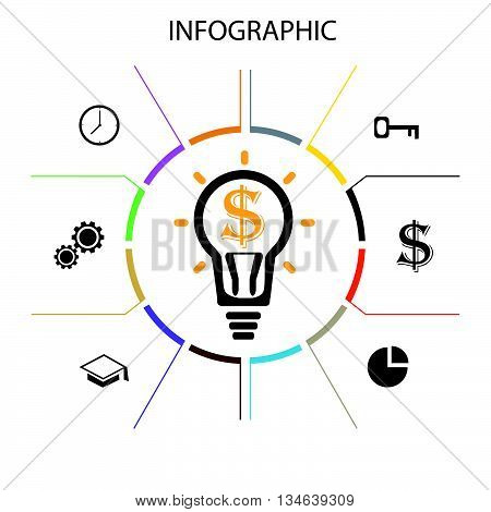 Infographic business concept.Infographic template made from lines and icons.Thin line flat circle for infographic. Round chart vector. Business concept with data visualization.