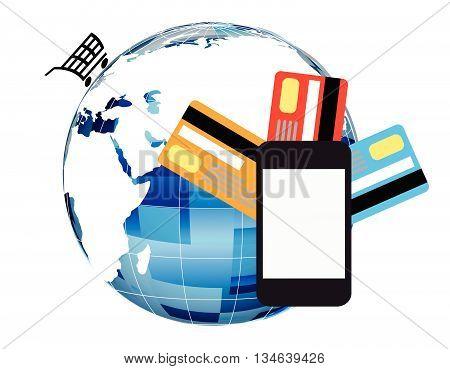 Online shopping vector illustration.Mobile laying vector. Online shopping through a mobile phone.Online shopping via mobile phone.