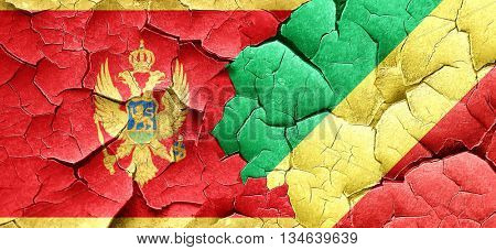 Montenegro flag with congo flag on a grunge cracked wall