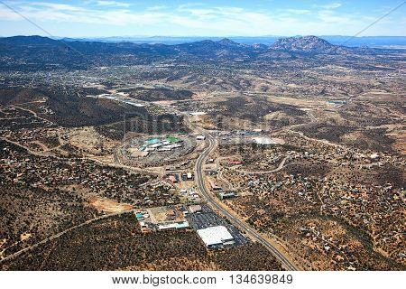 Prescott Arizona from high above looking west along highway 69