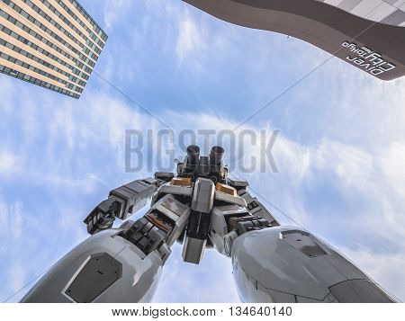 Odaiba, Tokyo, Japan - March 30, 18-meter Mobile Suit Gundam Rx78 Robot Shoot In Front Of Divercity