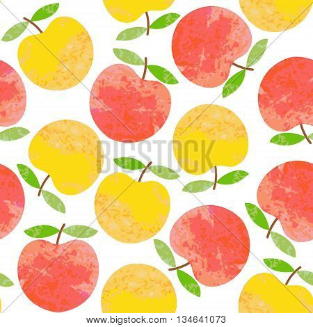 Seamless background with apples. Bright cute background for your design. Vector illustration.
