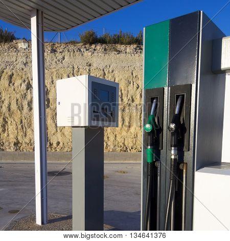 Close hose  spout of a gas station