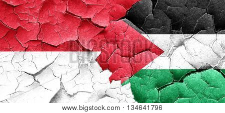 monaco flag with Palestine flag on a grunge cracked wall
