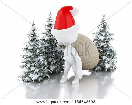 3d renderer image. Santa Claus with bag of gifts and Christmas tree in fresh snow. Christmas concept. Isolated white background.