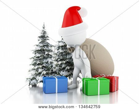3d renderer image. Santa Claus with bag gifts and Christmas tree in fresh snow. Christmas concept. Isolated white background.
