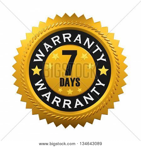 7 Days Warranty Sign isolated on white background. 3D render