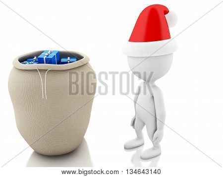 3d renderer image. Santa Claus with bag full of gifts. Christmas concept. Isolated white background.