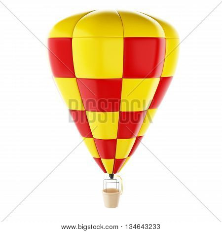 3d renderer image. Red and yellow hot air ballon. Isolated white background.