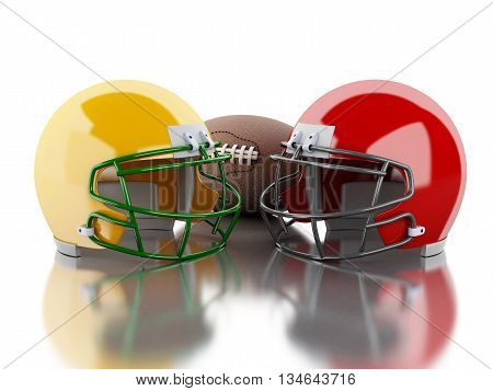 3d renderer image. American football helmets and ball. Sport concept. Isolated white background.