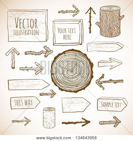 Set of rustic wooden backgrounds and objects hand drawn in sketchy style
