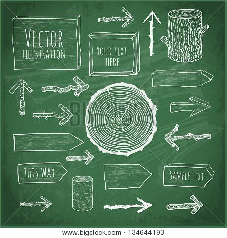 Set of rustic wooden backgrounds and objects hand drawn in sketchy style on blackboard background.