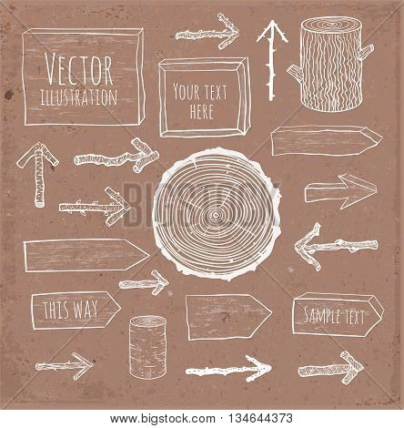 Set of rustic wooden backgrounds and objects hand drawn in sketchy style on brown parcel paper