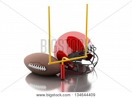 3d renderer image. American football helmets football goal and ball. Sport concept. Isolated white background.