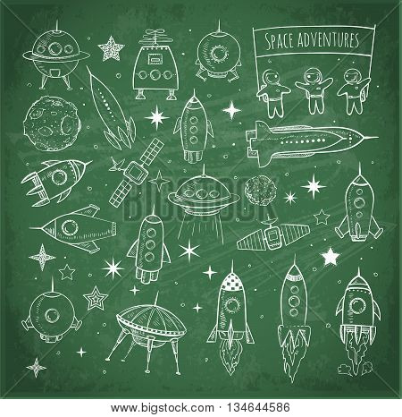 Collection of sketchy space objects on blackboard background.. Space ships, space shuttle, flying saucers, astronauts etc.