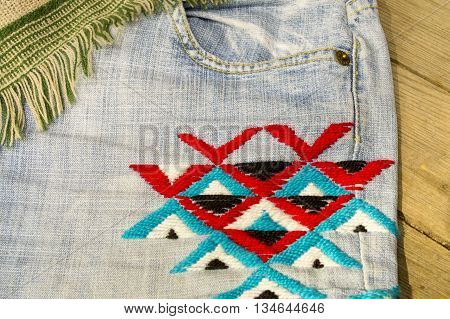 Embroidery colorful thread Navajo ornament jeans blue