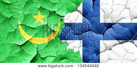 Mauritania flag with Finland flag on a grunge cracked wall