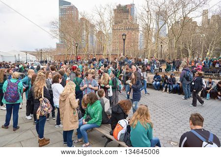 NEW YORK - CIRCA MARCH, 2016: people in Lower Manhattan, New York. The City of New York is the most populous city in the United States