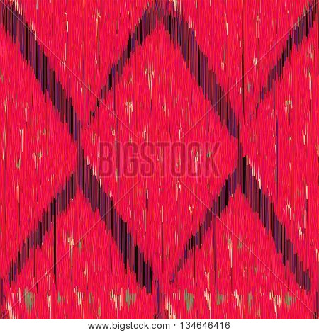 Red Seamless Ikat Pattern with rhombuses . Abstract background for textile design wallpaper surface textures pattern fills wrapping paper.