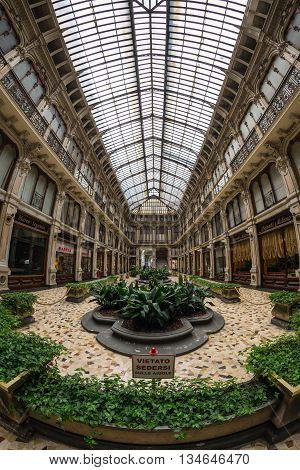 Turin, Italy - June 5, 2016: Interiors Of Galleria Subalpina, Historical Commercial Mall In The Cent