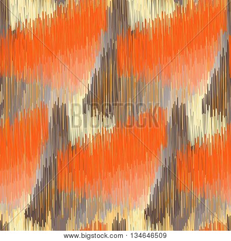 Seamless Ikat Pattern with orange and brown spots. Abstract background for textile design wallpaper surface textures pattern fills wrapping paper.