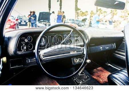 Benalmadena, Spain - June 21, 2015: Inside view of classic Chevrolet Camaro, in Benalmadena (Spain), on June 21, 2015.