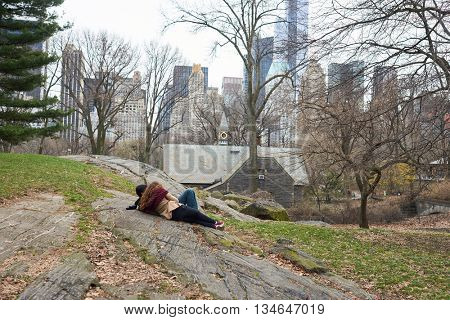 NEW YORK - CIRCA MARCH, 2016: view of Central Park in the spring. Central Park is an urban park in middle-upper Manhattan, within New York City.