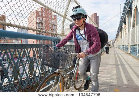 NEW YORK - CIRCA MARCH, 2016: outdoor lifestyle? portrait of bicyclist in New York. The City of New York is the most populous city in the United States