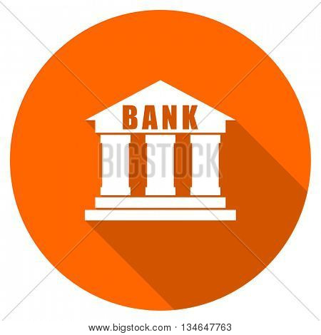 bank vector icon, orange circle flat design internet button, web and mobile app illustration