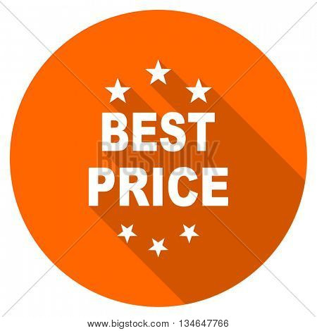 best price vector icon, orange circle flat design internet button, web and mobile app illustration