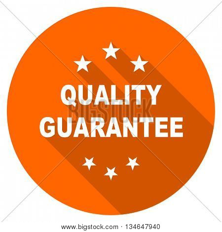 quality guarantee vector icon, orange circle flat design internet button, web and mobile app illustration