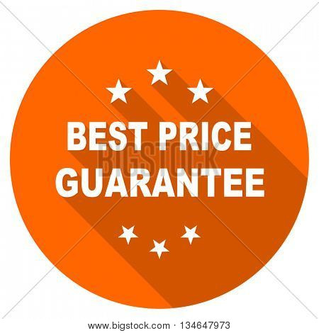 best price guarantee vector icon, orange circle flat design internet button, web and mobile app illustration