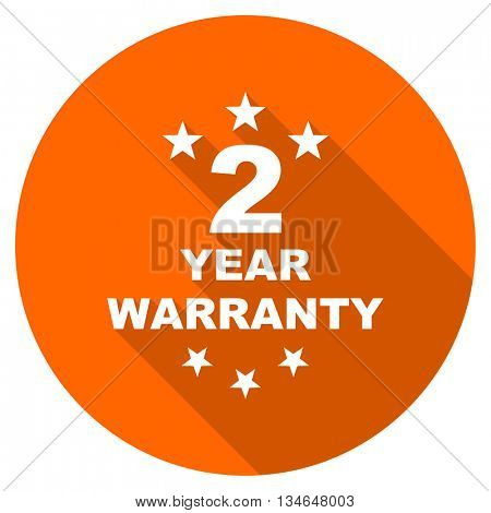 warranty guarantee 2 year vector icon, orange circle flat design internet button, web and mobile app illustration