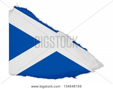 Flag Of Scotland Torn Paper Scrap Isolated On White Background
