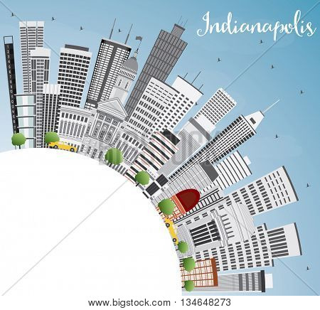 Indianapolis Skyline with Gray Buildings, Blue Sky and Copy Space. Vector Illustration. Business Travel and Tourism Concept with Modern Buildings.
