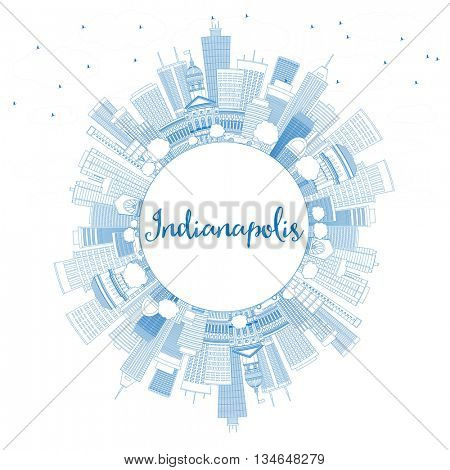 Outline Indianapolis Skyline with Blue Buildings and Copy Space. Vector Illustration. Business Travel and Tourism Concept with Modern Buildings.