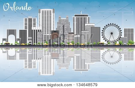 Orlando Skyline with Gray Buildings, Blue Sky and Reflections. Vector Illustration. Business Travel and Tourism Concept with Orlando City.