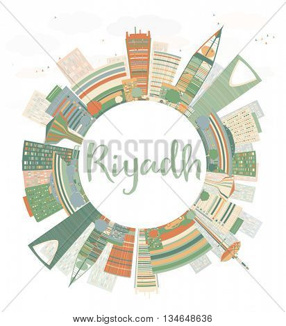 Abstract Riyadh skyline with Color buildings. Vector illustration with copy space. Business and tourism concept with skyscrapers.
