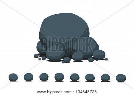 Cartoon flat vector stone set. Isolated on white background.