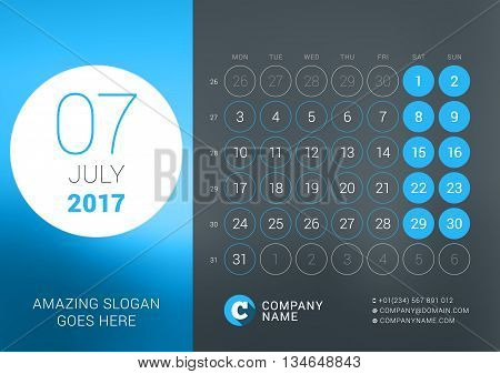 Calendar Template For July 2017. Vector Design Print Template With Place For Photo, Company Logo, Sl
