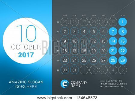 Calendar Template For October 2017. Vector Design Print Template With Place For Photo, Company Logo,