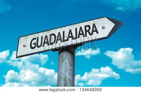 Guadalajara sign with sky background