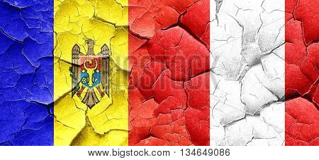 Moldova flag with Peru flag on a grunge cracked wall